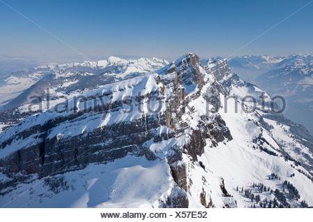 View to the Churfirsten from Hinterrugg in winter, Toggenburg, Switzerland, Europe - Stock Photo