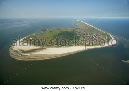 Aerial photograph, beach, Langeoog, East Frisian Islands, North Sea, mud flats, Wattenmeer, Lower Saxony, Germany, Europe - Stock Photo