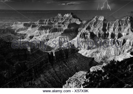 Thunderstorm, lightning, view from Bright Angel Point to Deva Temple, Brahma Temple, Zoroaster Temple, Transept Canyon - Stock Photo