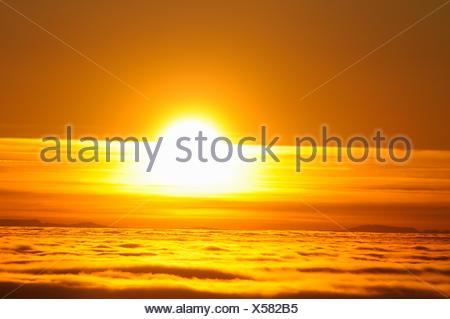 Sunset over the Sea of Fog - Stock Photo