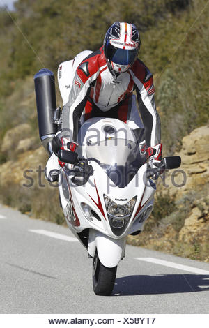 Motorcyclist, Stoppie, Sporttourer, Suzuki Hayabusa, extreme braking, country road, - Stock Photo