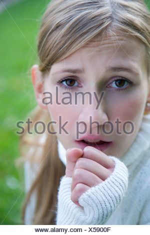 young woman with cough - Stock Photo