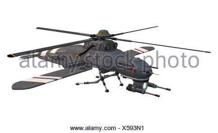 3D digital render of a drone helicopter isolated on white background - Stock Photo