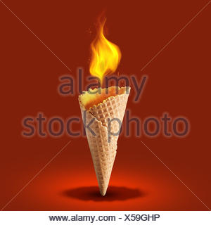wafer cone with fire on color background - Stock Photo