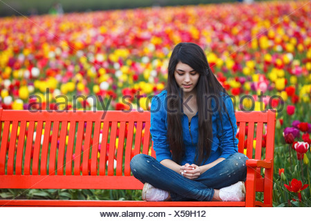Woodburn, Oregon, United States Of America; A Teenage Girl Sits On A Bench In Front Of A Tulip Field At Wooden Shoe Tulip Farm - Stock Photo