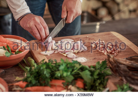 Person cutting onions - Stock Photo