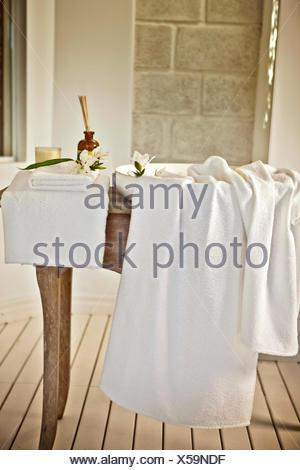Bathroom, sink, towels - Stock Photo