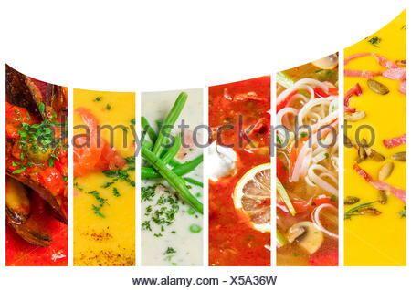 Collage from photos of soups puree - Stock Photo