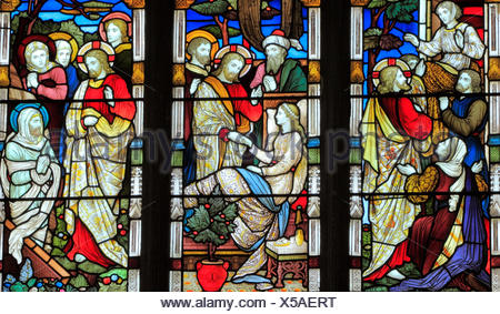 Miracles of Jesus, Say Unto Thee Arise, Jairus' daughter, Talitha Koum, Lazarus Come Forth, stained glass window, by Heaton Butler & Bayne, 1878 - Stock Photo