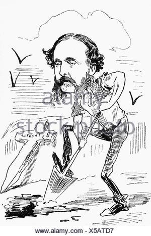 Dingelstedt, Franz Freiherr von, 30.6.1814 - 15.5.1881, German author / writer, theatre manager, full length, caricature, - Stock Photo