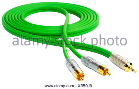 Green audio cable with three connectors isolated on white - Stock Photo