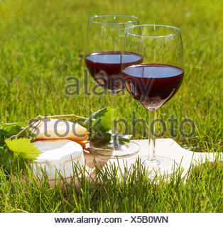 Two glasses of the natural homemade red wine - Stock Photo