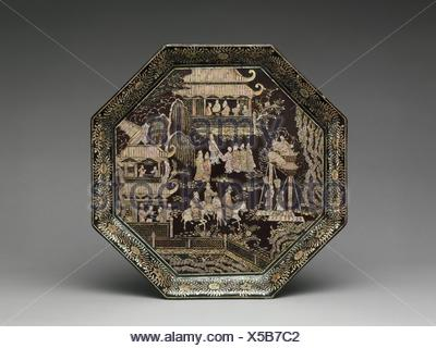 Tray with Eighteen Scholars of the Tang. Period: Ming dynasty (1368-1644); Date: 15th century; Culture: China; Medium: Black lacquer with - Stock Photo