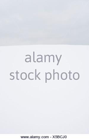 Monogroom beeld van een grijze lucht boven een besneeuwd landschap, Mono groom picture of grey clouds above a snow covered landscape - Stock Photo