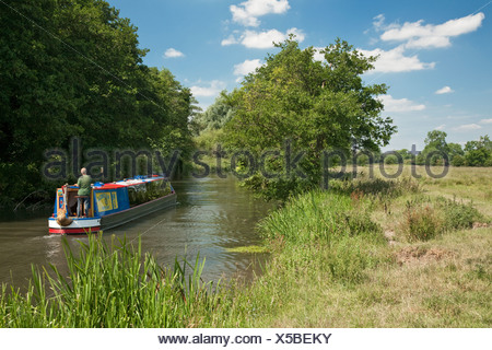 Barge on the River Kennet and Kennet and Avon Canal at Calcot near Reading, Berkshire, Uk - Stock Photo