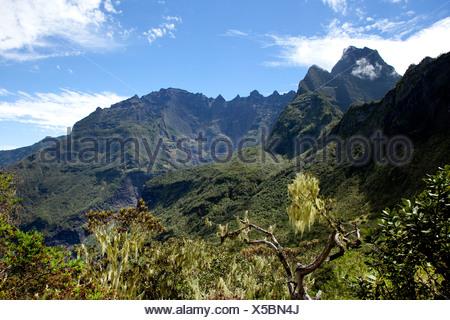 Mountain landscape, La Reunion island, Indian Ocean - Stock Photo