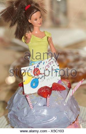Barbie Doll In Birthday Cake Stock Photo 278916385 Alamy
