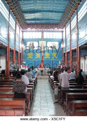 China, Yunnan province, Dali, catholic church - Stock Photo