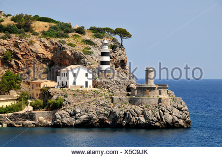 Sa Creu Lighthouse, Port de Soller, Mallorca, Balearic Islands, Spain, Europe - Stock Photo