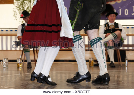 Schuhplattler, traditional folk dancers, 83rd Loisachgaufest in Neufahrn near Egling, Upper Bavaria, Bavaria, Germany, Europe - Stock Photo