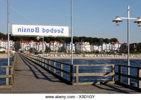Bansin seaside resort, view from pier, Usedom Island, Baltic Sea, Mecklenburg-Western Pomerania, Germany, Europe - Stock Photo