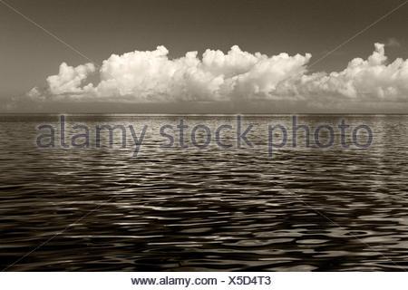 Clouds over the sea, Viti Levu, Fiji, s/w, - Stock Photo