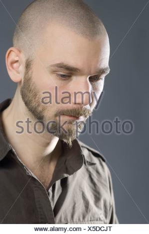 portrait of bald man with beard - Stock Photo