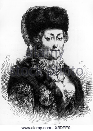 Catherine II 'the Great', 2.5.1729 - 17.11.1796, Empress of Russia 1762 - 1796, portrait, wood engraving, after contemporaneous image, Additional-Rights-Clearances-NA - Stock Photo