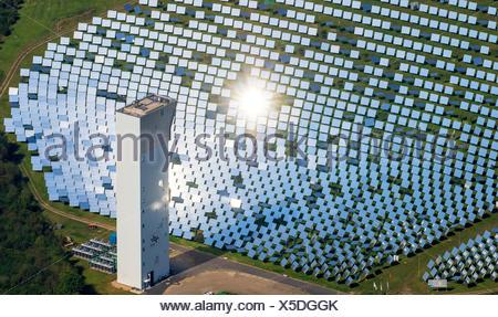 Aerial view, thermal experimental solar power plant Jülich, solar oven, solar mirror, Jülich, Jülich-Zülpicher Börde