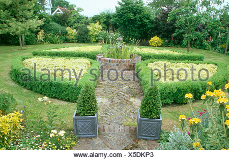 Small formal knot garden with box edging around lavender front of a ...