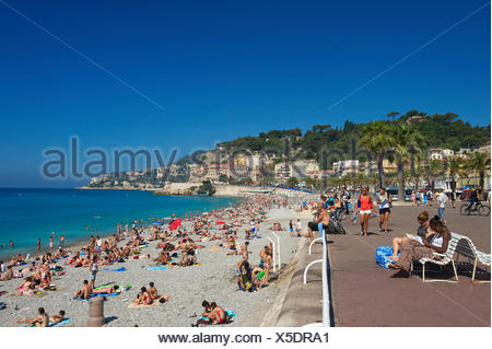 Beach at the Promenade des Anglais, Nice, French Riviera, Alpes-Maritimes, Provence-Alpes-Côte d'Azur, France - Stock Photo