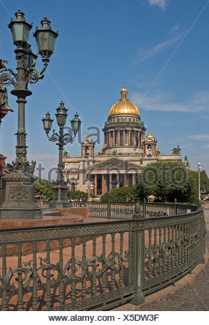 GUS Russia St Petersburg 300 years old Venice of the North Isaak Square with Isaak Cathedrale Architect Auguste Montferrand - Stock Photo