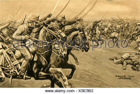 events, First World War/WWI, Eastern Front, Poland, Battle of Krasnik, 23.8.1914 - 25.8.1914, Hungarian hussars charching, postcard, drawing by Curt Schulz-Steglitz, 1915, cavalry, Galicia, Austria-Hungary, Austria Hungary, soldiers, Russians, Russia, military, propaganda, 20th century, historic, historical, Schulz Steglitz, people, 1910s, Additional-Rights-Clearances-NA - Stock Photo