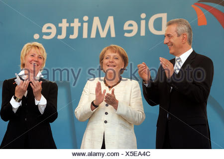German Chancellor Angela Merkel during a visit to Dresden, on the left Prime Minister Stanislaw Tillich - Stock Photo