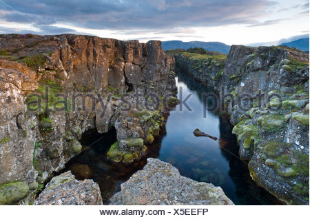 Rift valley, Thingvellir, Þingvellir National Park, Iceland, Europe - Stock Photo