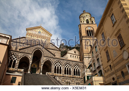 Amalfi, Amalfiküste, Aussicht, Blick, Campania, Dom, Golf von Neapel, Italien, Kampanien, Kirche, Küste, Meer, Meta, Mittelmeer, - Stock Photo
