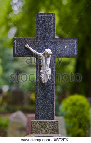 Stone cross with broken Christ figure on a grave, castle cemetery Bad Godesberg, Bonn, North Rhine-Westphalia, Germany, Europe - Stock Photo
