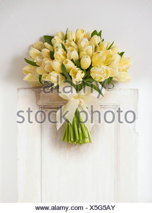 Bunch of pale yellow tulips, close-up - Stock Photo
