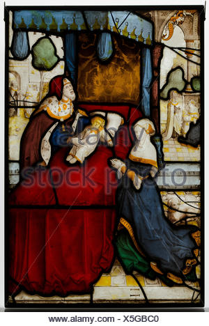 Glass Panel of Elijah and the Widow´s Son. Artist: probably by Jan van Diependale (active 1509-1534); Date: early 16th century; Geography: Made in - Stock Photo