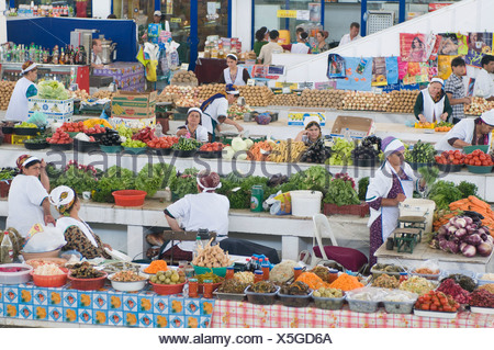 Vegetable market, bazar, Ashgabat, Turkmenistan, Central Asia - Stock Photo