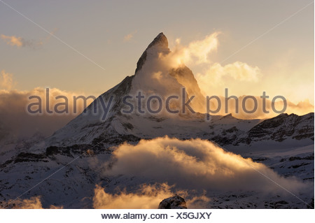 Mt Matterhorn in the light of the setting sun, Zermatt, Valais, Switzerland, Europe, Europe - Stock Photo