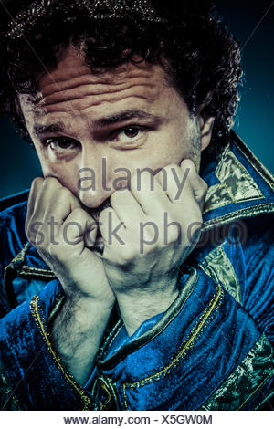 Blue prince, nobility concept, funny fantasy picture - Stock Photo