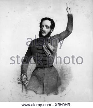 Kossuth, Lajos, 16.9.1802 - 20.3.1894, Hungarian politician, Regent-President of Hungary in 1849, half length, contemporary lithograph, 19th century, - Stock Photo