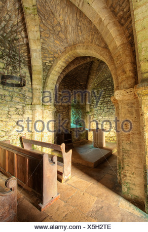 The interior of St Aldhelm's Chapel at St Aldhelms Head, Isle of Purbeck, Dorset, Uk - Stock Photo