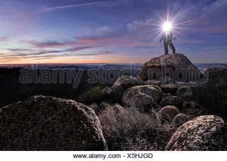 USA, California, Cleveland National Forest, Man on Mount Tule - Stock Photo