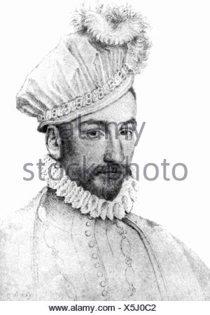 Charles IX, 27.6.1550 - 30.5.1574, King of France 15.12.1560 - 30.5.1574, portrait, drawing by Francois Clouet, 16th century, , Additional-Rights-Clearances-NA - Stock Photo