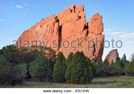 South Gate Rock, Garden of the Gods, red sandstone, Colorado Springs, Colorado, USA - Stock Photo