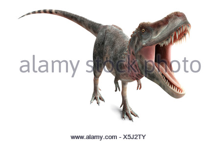 Tarbosaurus dinosaur, artwork - Stock Photo
