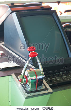 Steering Wheel And Dashboard Of A Speed Boat Stock Photo