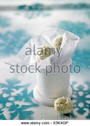 Yoghurt-coconut truffles - Stock Photo
